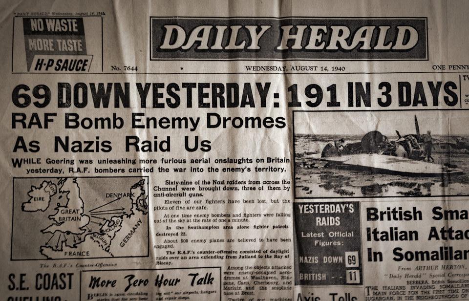 1940年8月14日的英国报纸头条:昨天打下69架,三天共 191 架