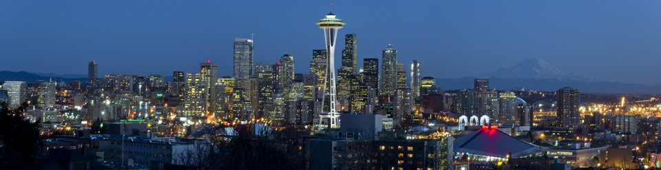 Seattle Skyline with Mount Rainier From Kerry Park by William Prost